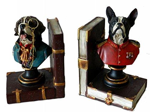 Coppia Ferma Libri Cani In Resina Complementi D'arredo Idea Regalo Vintage