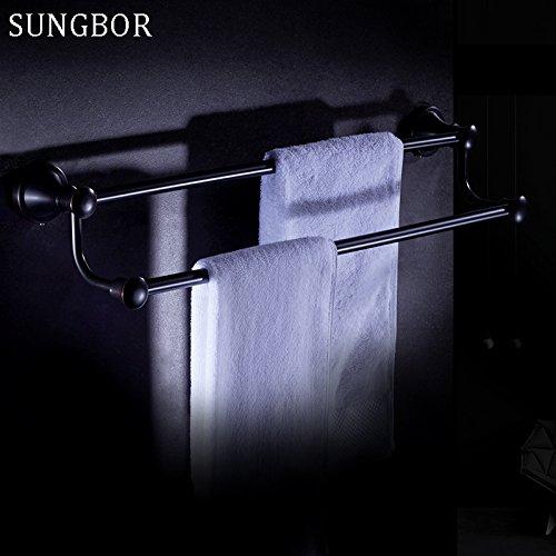BATHAE Wand befestigte Badezimmer-Zubehör Öl eingerieben Bronze Schwarz Doppel-Handtuchhalter Handtuchhalter Badezimmer Hardware YL-4711H (Eingerieben Badewanne Hardware Bronze Öl)