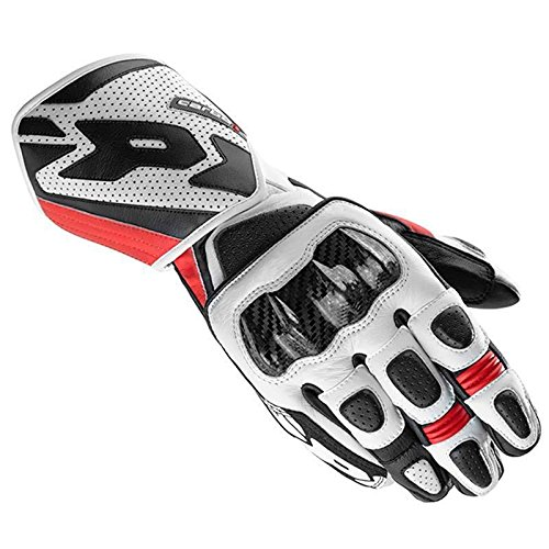 Motorbike Motorcycle Spidi Carbo 1 Leather Gloves GP Racing Style Sports Touring Glove -Black/Red - Red - M