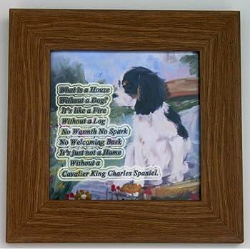 CAVALIER KING CHARLES SPANIEL DOG tri NEW HARDBOARD PLAQUE PRINT SANDRA COEN ART