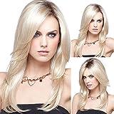 Frau Perücke, die tägliche Leben und Parteiaktivitäten, elegante und stilvolle blonde Haare, leicht gewellt, 0