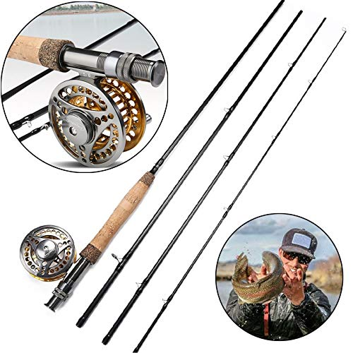 FISHYY Angelrute Fly Angelrute und Fly Reel Combo 2,7m Carbon Tragbare Fliegenrute 5/6 Full Metal Angelrolle Set Angelgerät - Fliegenrute Carbon