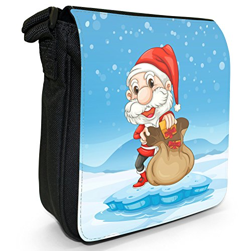 Joyful Christmas Time nella neve piccolo nero Tela Borsa a tracolla, taglia S Happy Santa Fills Gift In Sack