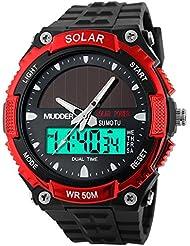 Mudder Reloj Deportivo Solar Impermeable 50M Reloj Militar de Movimiento LCD para Hombres, Rojo