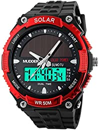 Mudder Homme 50M Waterproof Digital Sports Militaire Multifonctionnel LCD Plongée Montre, Rouge