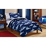 Mainstays Kids Blue Sharks 5 Piece Bed in a Bag Twin