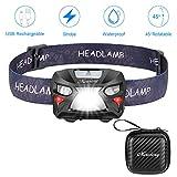 Mirviory Stirnlampe LED Kopflampe Stirnlampe USB 8 Modi Wiederladbar LED-Stirnleuchte Wasserdicht IPX4 Doppeltswitch Sensorlampe für Joggen Laufen Outdoor Aktivität,Mini Aufbewahrungskoffer