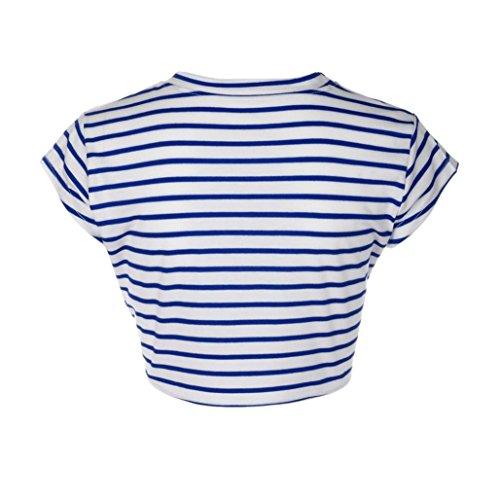 Bluestercool Femmes T-Shirt Rayée Sexy Chemisier à Manches courtes Décontracté Bleu