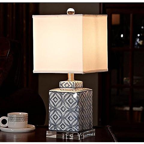 KHSKX Nuevas lámparas de cerámica China, habitación moderna y simple lámpara, mesita de noche dormitorio creativo lámpara de mesa de