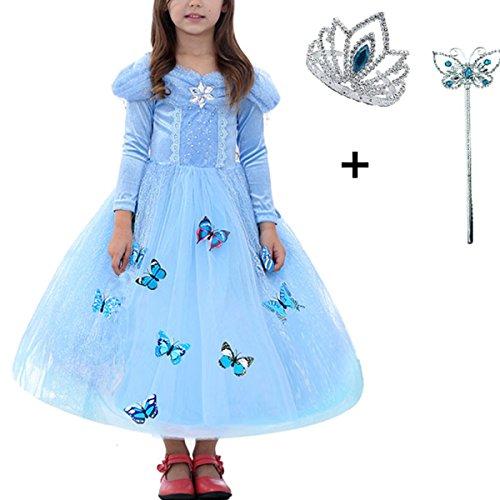 Robe-Princesse-Fille-Hiver-Bleu-Manches-Longues-LiUiMiY-Dguisement-Costume-Enfant-Bb-Halloween-Carnaval-Nol-Cosplay-avec-Baguette-magique-Couronne