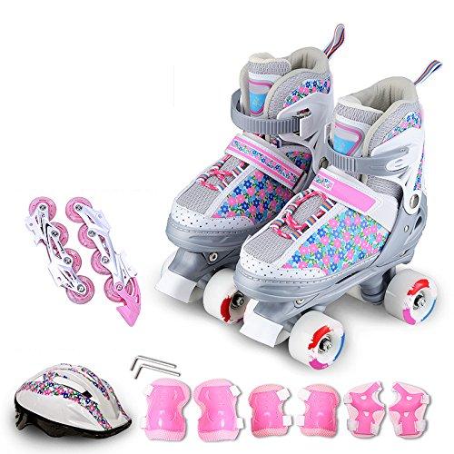 ZCRFY Rollschuhe Zweireihige Inline Skates 2 in 1 Einstellbare Set Kinder Training Rollerblades Für Anfänger Kleinkinder Jungen Mädchen Roller Blades,Pink-M