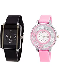 Briota Analogue Black & Pink Dial Watch For Girls Pack Of 2-316BRT