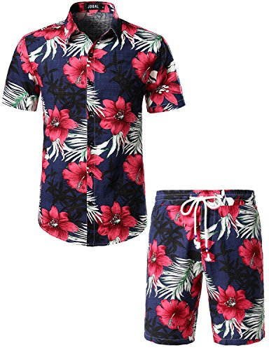 JOGAL Herren Blumen Kurzarm Baumwolle Hawaii Hemd Shorts Set Large Navy -