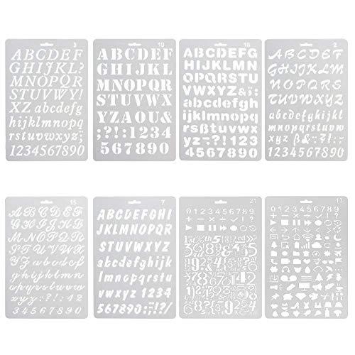 8 x Schablonen-Sets aus Kunststoff von,zum Zeichnen, Malen und Stanzen, mit Buchstaben und Zahlen, für Planer, Notizbücher, Tagebücher