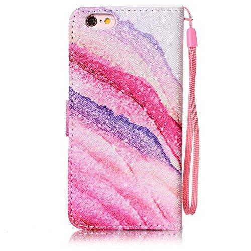 """Cuir Portefeuille Coque pour Apple iphone 6 Plus 6S Plus 5.5"""" Rose, Élégant iPhone 6S Plus étui Rabat Style, iPhone 6 Plus Case, Joli Image Peinture Arbre coloré Rose-3"""