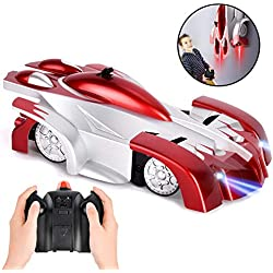 RC Jouets pour garçons âgés de 5 à 8 ans, voiture télécommandée rechargeable voiture d'escalade murale avec lumières LED par 360 rotatifs pour l'âge de 6 à 16 ans cadeau pour garçons filles rouge