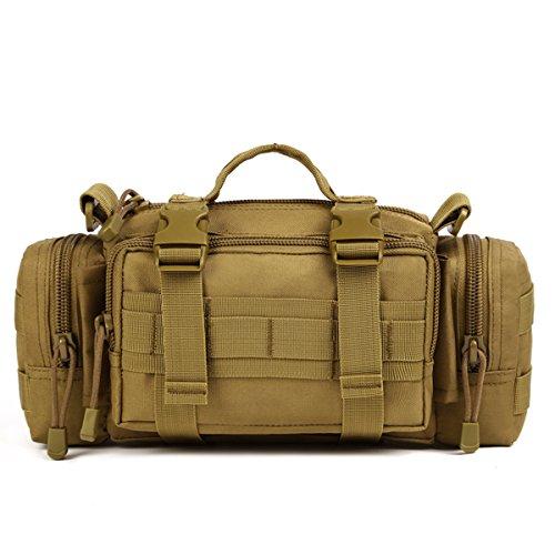 Huntvp® Taktisch Hüfttasche Molle Bauchtasche 3in1 Umhängetasche Militär Schultertasche Wasserdicht Gürteltasche Crossbody Waist Bag Multifunktional Handtasche - Braun