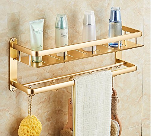 Mmhy free punch igienica rack parete portasciugamani portasciugamani bagno WC WC spazio alluminio continentale dorato doppio ripiano 50cm, bright your life A
