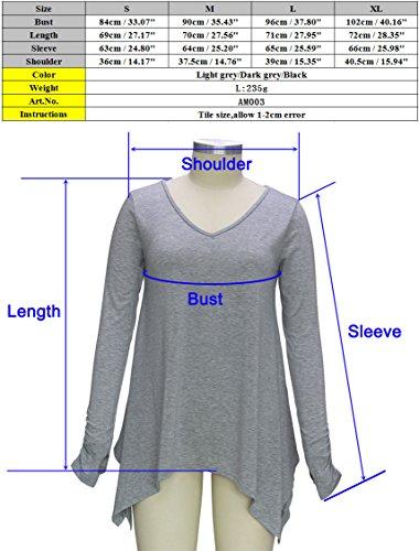 Damen Langarmshirt Asymmetrisch T-Shirt - Das beste Casual Stretch Langarm Bluse daumen - loch sidetail Oberteile Tunika Shirts Tops V-Ausschnitt Falten T-Shirt Für Herbst & Frühling (Size S-XL) Hellgrau