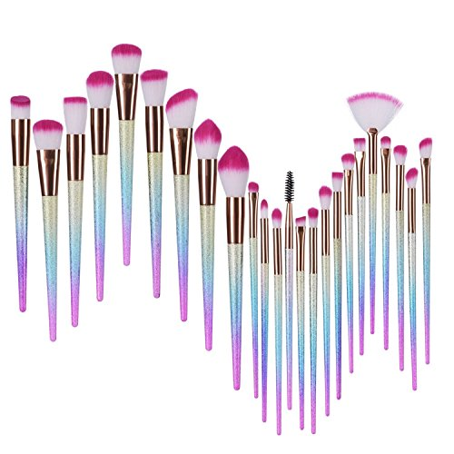 Kit de Brosse de maquillage,BYBO 24Pcs Pinceaux de Maquillage Professionnels Kit / Kit de brossage de maquillage de fondation Ensemble de brosse à maquillage et brosse à eye-liner