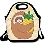 Pineapple Sloth Waterproof Lunch Tote Bag Portable Picnic Lunch Box Lunch Pouch