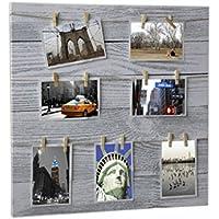 Hogar y Mas Porta fotos multiple con pinzas, para decoracion original. 49.5 x 49.5 CM.