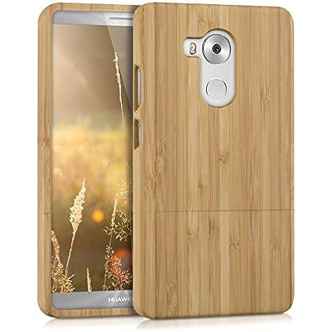 kwmobile Estuche de madera natural para el Huawei Mate 8 en bambú marrón