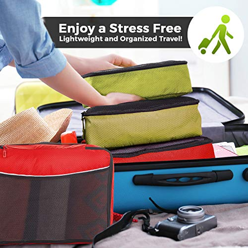 Luggage Packing Cubes 4pcs Value Set - Plus 6pcs Ziplock Bags - 2 x Green / 2 x Red