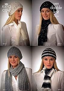 King Cole Ladies Hats & Scarves Galaxy DK Knitting Pattern 3401