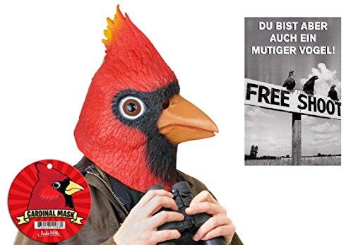 Latex Vogelmaske & Postkarte