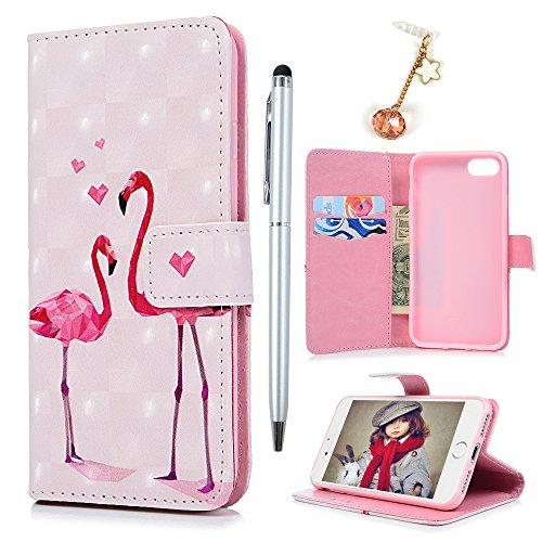 Badalink Hülle für iPhone 7 /iPhone 8 3D Gemalt Eule Handyhülle Leder PU Case Cover Magnet Flip Case Schutzhülle Kartensteckplätzen und Ständer Handytasche mit Eingabestifte und Staubschutz Stecker Flamingo