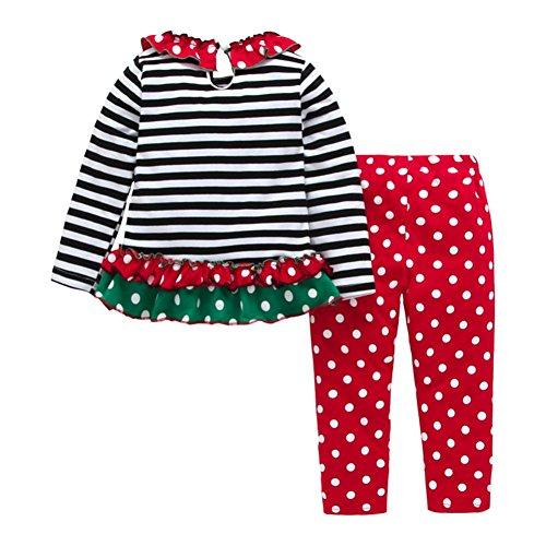 Odejoy Infant Natale Costume Vestito Babbo Natale manica lunga Pagliaccetto Tutine Neonato Neonato bambino neonato ragazza Romper cime + pantaloni a strisce (Multicolore, 18M)