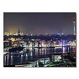 #detailverliebt Wand-Bild mit Dortmunder Skyline Motiv I DV_294 I 60 x 40 cm Leinwand I Kunstdruck Quer-Format Matt Dortmund Bei Nacht Mittel groß