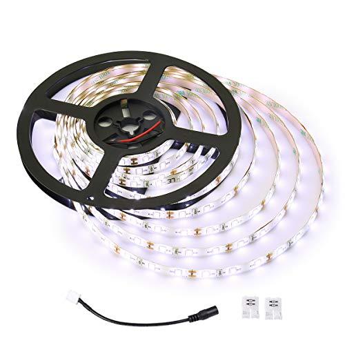 LE Striscia Luminosa LED 5m 18W, Flessibile Impermeabile IP65, 300 LED 2835 Luce Bianca Diurno per Decorazioni Esterni ed Interni Soggiorno Kit Completo 2 Connettori e Cavo di Connessione