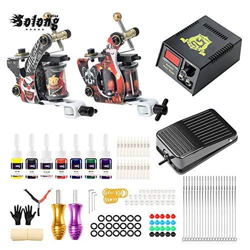 Máquina de tatuaje, ametralladora giratoria, poder de entrada de tatuaje, kit para principiantes, 2 máquina de tatuaje, máquina de colorear con niebla de alta eficiencia