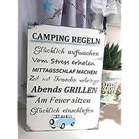 Camping Regeln Bus Holzschild im Shabby Vintage Style
