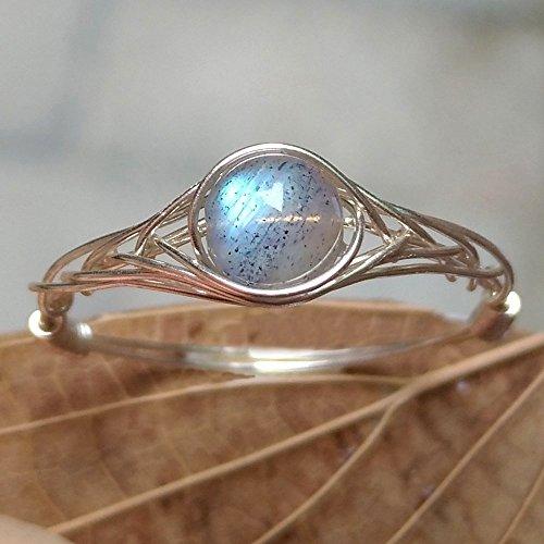 15.75#(15.75#-21.25# Available)Natürliche Mond Licht Labradorit Stein Sterling Silber String Wicklung Edelstein Handgefertigt Ring
