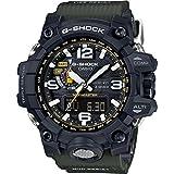 Solar-Armbanduhr für Herren, G-Shock Mudmaster GWG-1000–1A3, robust, Schwarz und Grün