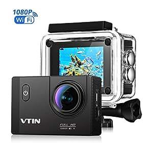 VicTsing Videocamera Azione Sportiva Impermeabile WIFI 1080P 12M, Videocamera Azione Sport, Camera Action Sport 170 Gradi Ampio Angolo, 2.0 Pollici di Schermo LCD, Full HD, Sott'acqua 30m, Waterproof Videocamera, con 2 Batterie, Nero