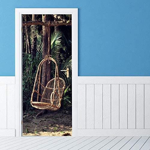 DNFurniture 3D Tür Aufkleber Rattvorsitzender hängt Korb 77X200CM Wandaufkleber PVC Ansicht festlich Kunst selbstklebend Stereo Abziehbild europäisch Tapete Illustrator Vision