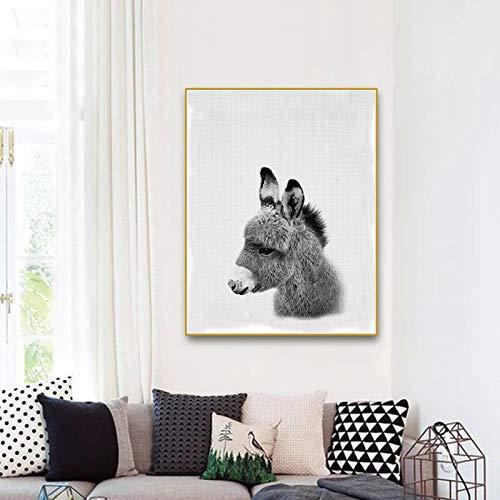 adgkitb canvas Kinderzimmer Wandkunst Kawaii Esel Leinwanddruck Tierdruck Wohnkultur Bild Kinder Baby Mädchen Room 40x60cm KEIN Rahmen -