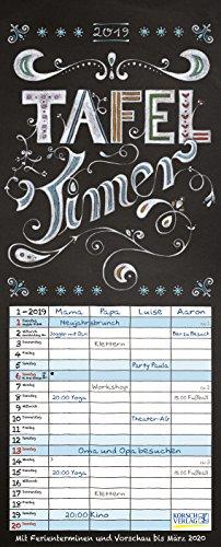 Tafel Timer 2019: Typo Art Familienkalender mit 4 breiten Spalten in Tafeloptik. Hochwertiger Familienplaner mit Ferienterminen, Vorschau bis März 2020.