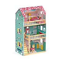 Janod J06580 Happy Day Doll House (Wood), Pink/Green