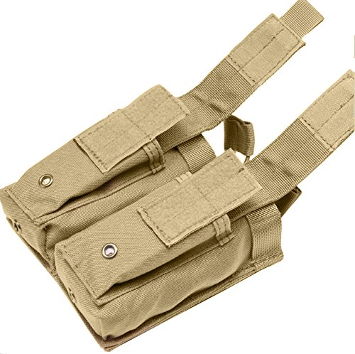 LefRight Molle Magazin Pouch Open-Top Doppel Pistole Magazintasche Patrone Clip Tasche Beutel (khaki) (Front-tasche-clip)