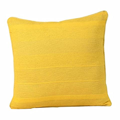 Homescapes Rajput Ribbed Cushion 18 x 18 Inches Tangerine Yellow 100% Cotton Cover and Well Filled Pad 45 x 45 cm Coordinating with Rajput Throws and Curtains Easy care Washable at