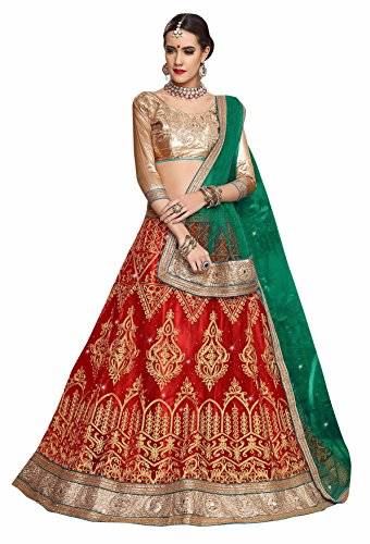 Manvaa RED Color NETT Embroidery Designer Lehenga
