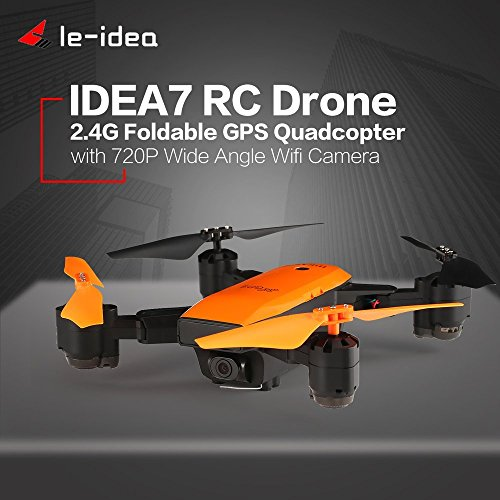 FairytaleMM Le- Idea IDEA7 RC Plegable Quadcopter 720P cámara Gran Angular GPS Altitude Hold