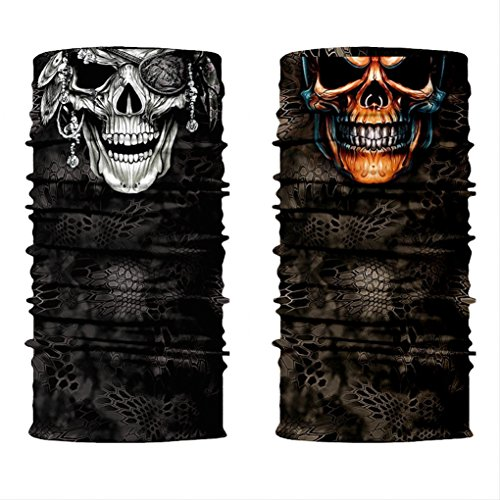 ShopINess Pack Pañuelo bandana multiuso Calavera Piercing + Calavera Pirata