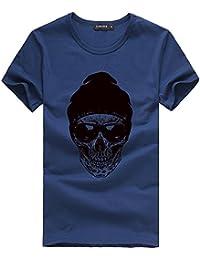 8e32343898940b YEBIRAL Kurzarm T-Shirt Herren Einfarbige Rundhals Sommer Mode Druck Basic  Lässige Shirts