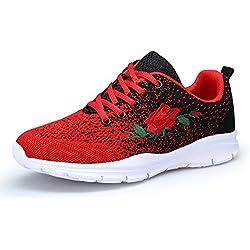 KOUDYEN Zapatillas Deportivas de Mujer Hombre Running Zapatos para Correr Gimnasio Calzado Unisex (EU39, Negro Rojo)